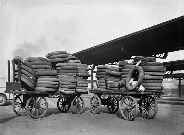 Excess tires at Union Station, October 1942
