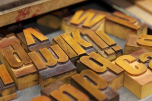 detail of wooden characters for letterpress