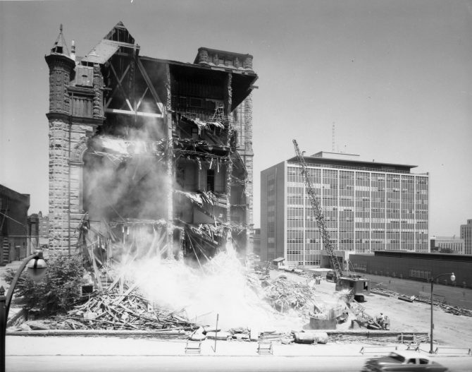 Image of the demolition of the Pierce County Court House